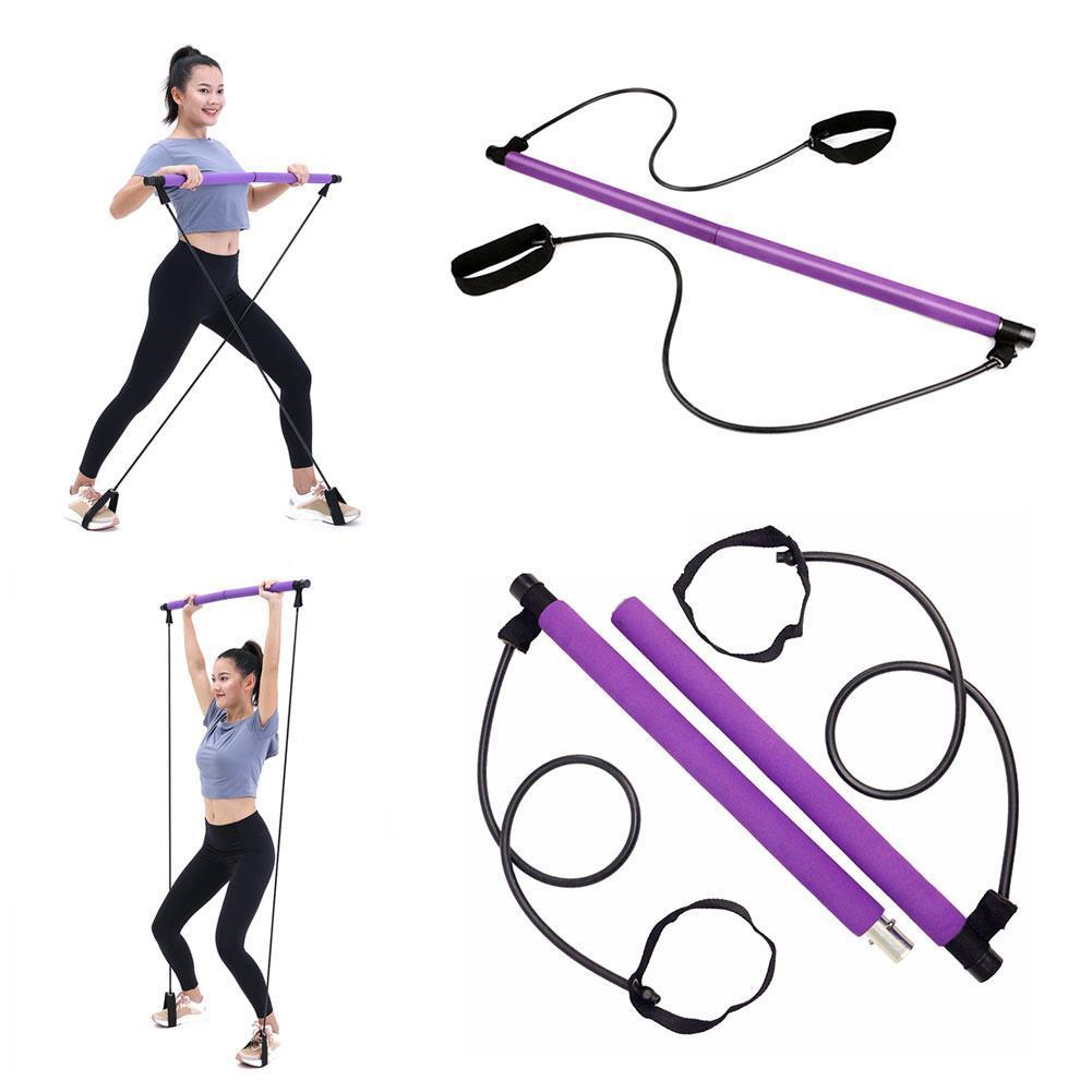 1 Pcs Pilates Bar Stick With Resistance Band Portable Foot Bar Pilates Lightweight 2 Trainer Stick Elastic Loops N1F5
