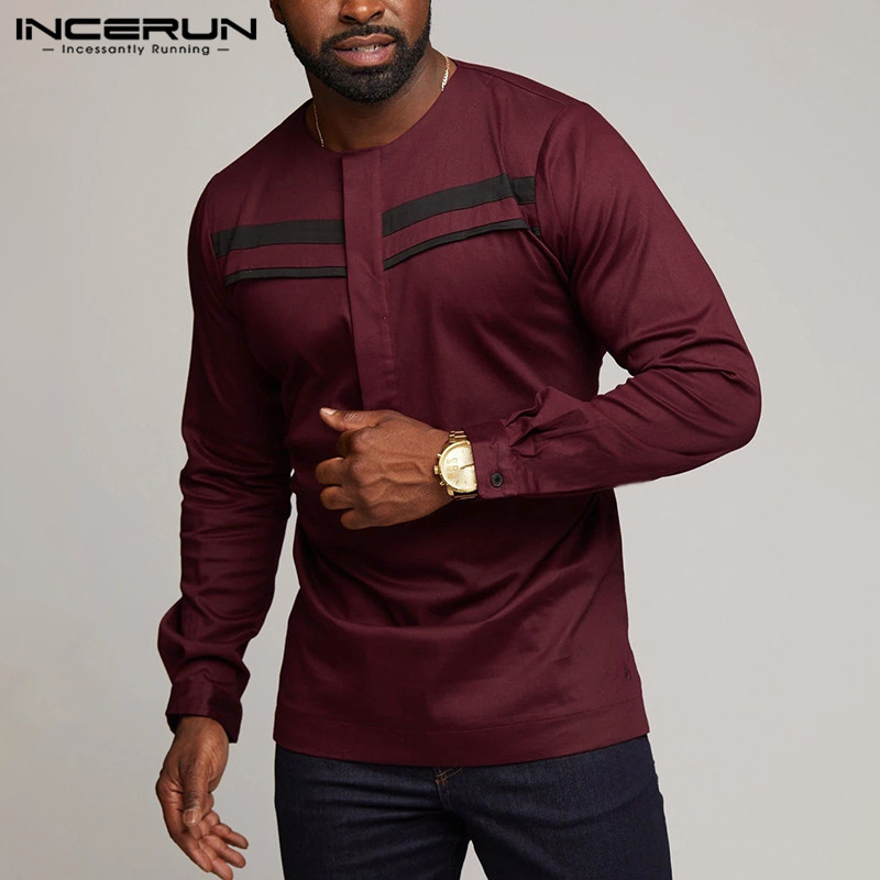 INCERUN Fashion African Shirt Men Dashiki Clothes 2020 Streetwear Long Sleeve Patchwork O Neck Mens Casual Shirts Camisa S-5XL