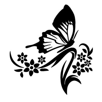 moto Car Sticker Flowers and Butterfly Fresh Skoda Honda Chevrolet Volkswagen CAR Window Motorcycle Decal image
