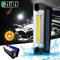 Usb Oplaadbare Cob Verlichting Solar Opladen Led Zaklamp Waterdicht Camping Lantaarn 3 Modes Torch Met Power Display Lamp