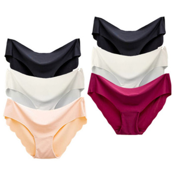 2021 Fashion 1/3 Pcs Lady Women Seamless Panties Solid Ice Silk Cozy Brief Underwear G String Underpants Sexy Lingerie Briefs image