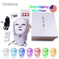 Foreverlily 7 Farben Led Gesichts Maske Led Koreanische Photon Therapie Gesicht Maske Maschine Licht Therapie Akne Maske Neck Schönheit Led maske