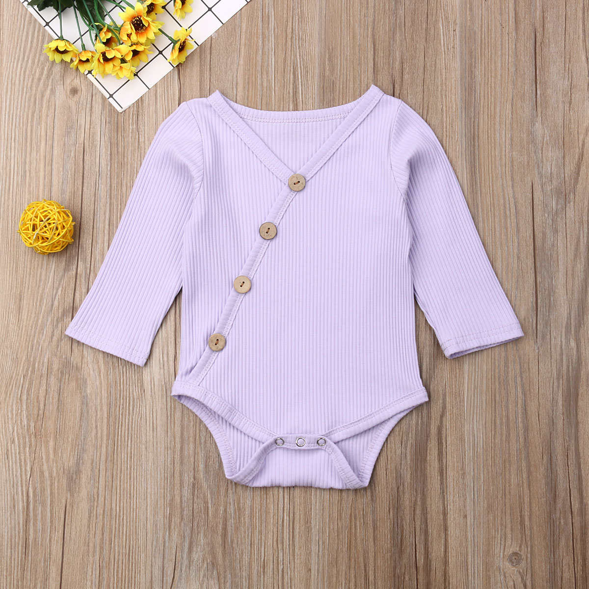 0-24M Newborn Infant Baby Boy Girl Rompers Button Kid Jumpsuit Clothes Bodysuit