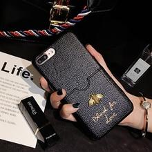 Designer Luxury Fashion brand Classic Metallic Honey Bee Card soft Leather 11 pro max case