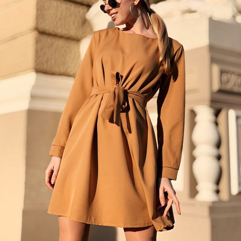 Women Sashes Solid Mini A Line Dress Office Ladies O Neck Long Sleeve Casual Dress 2019 Autumn Winter New Fashion Women Dresses
