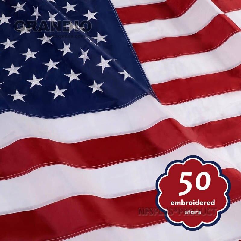 USA 5X8/' FLAG NEW US MADE EMBROIDERED STARS SEWN NYLON
