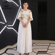 Skyyue Evening Dress White Sequin Flowers Robe De Soiree 2019 Plus Size Zipper Women Party Dresses Short Sleeve Formal Gown T119