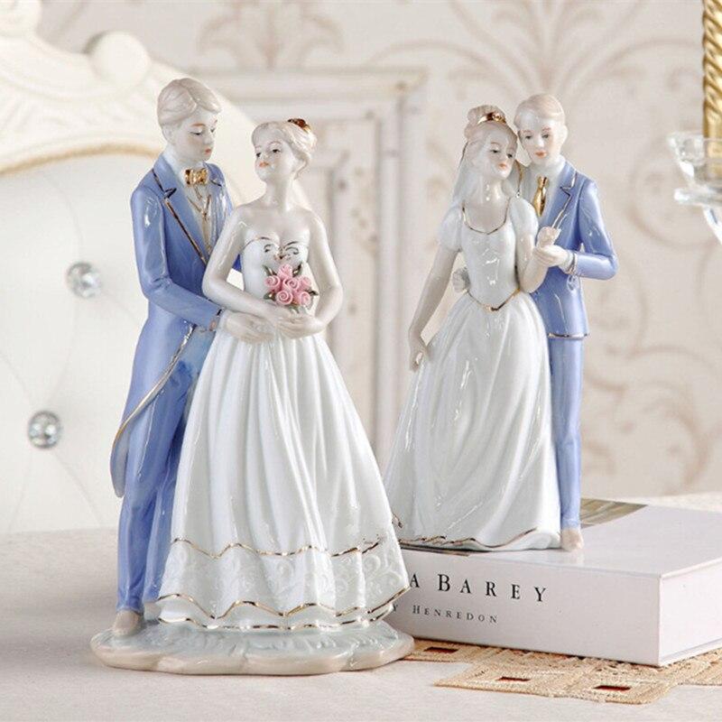 Ceramic Couples Figure Figurine Porcelain Lover Statue Handicraft Home Decor Accessories and Wedding Gift Wedding Souvenir R2260