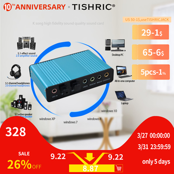 TISHRIC оптический аудио адаптер внешняя звуковая карта 5,1 USB на 3,5 мм наушники стерео микрофон линия Spdif для ПК компьютера ноутбука