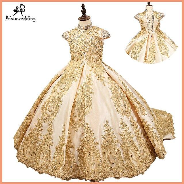 Lüks altın çiçek kız elbise düğün için boncuklu çocuklar akşam balo elbisesi uzun küçük kızlar pageant elbise tren ile