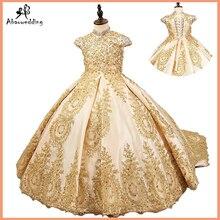 Luxury gold ดอกไม้สำหรับงานแต่งงานลูกปัดเด็ก evening ball gowns ยาวๆน้อยๆสาวกับรถไฟ