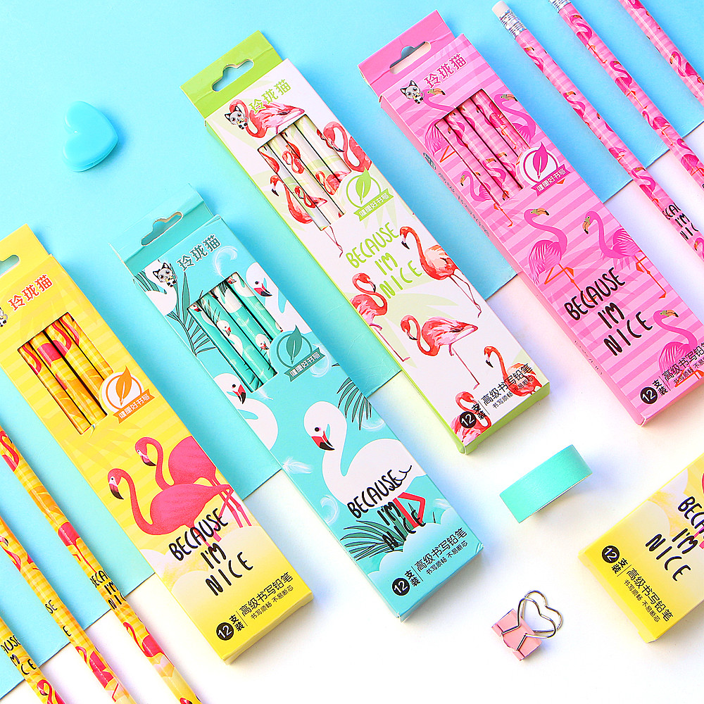 12Pcs/Set Cute Kawaii Cartoon Flamingo Pencil HB Sketch Items Drawing Stationery Student School Office Supplies For Kids Gift