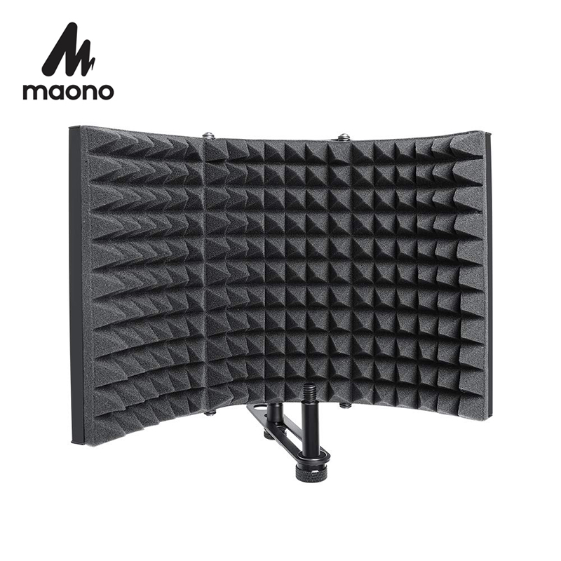 Foldable Microphone Acoustic Isolation Shield Alloy Acoustic Foams Panel Studio Recording Microphone Accessories