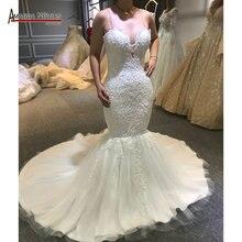 セクシーなビーズマーメイドウェディングドレス透明素敵なバック魚のウェディングドレス