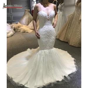 Image 1 - Sexy beading mermaid wedding dress with transparent nice back fish wedding dress