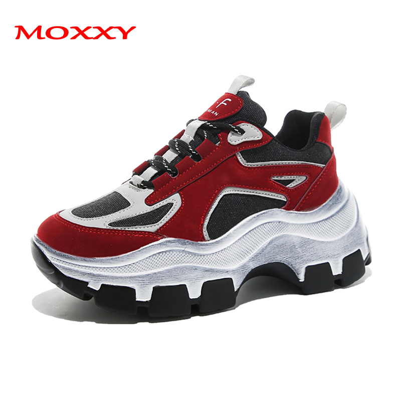 2019 New Brand Retro Chunky Sneakers Women Shoes Red Black White High Platform Sneakers Female Shoes Luxury Casual Dad Sneakers