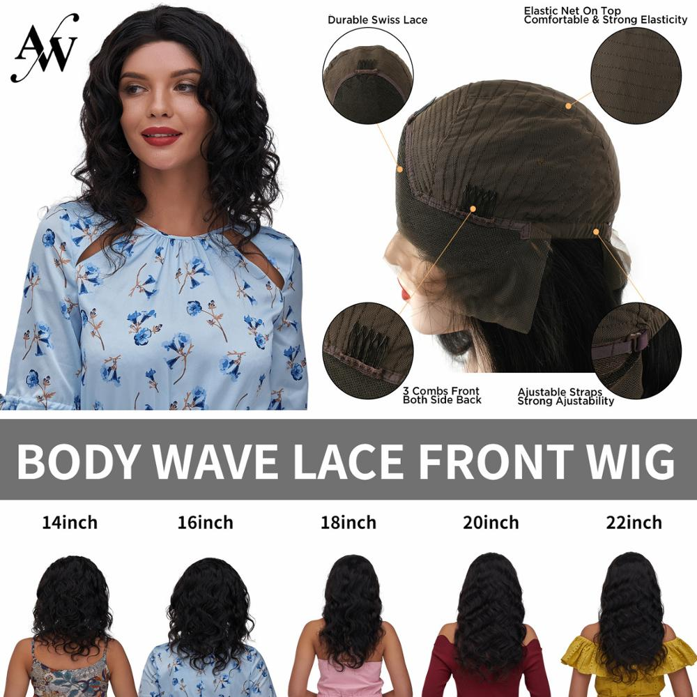 AW 14''-22'' Body Wave HD Transparent Lace Frontal Wig 150% Density Pre-Plucked Hairline With Baby Hair Lace Front Remy Hair Wig