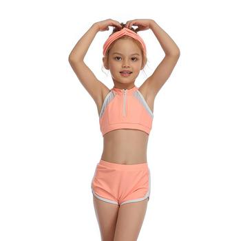 2-14 Years Toddler and Teen Girls Athletic Swimsuits High Neck Front Zipper Sports Crop Top With Boyshorts Kids Bathing Suit - Pink, Girl 128 5-6T