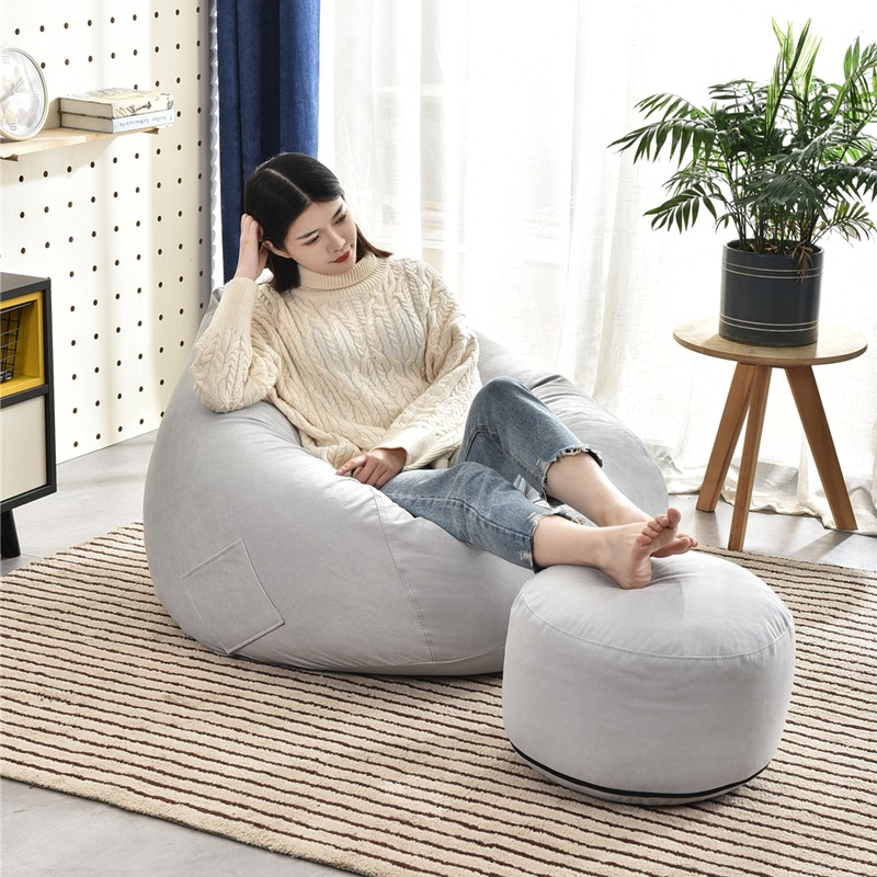 Super Deal Eca5d7 No Filler Lazy Beanbag Sofas And Footstool Cover Chairs Bedroom Cloth Adult Bean Bag Chair Pouf Puff Seat Sofa Couch Cicig Co