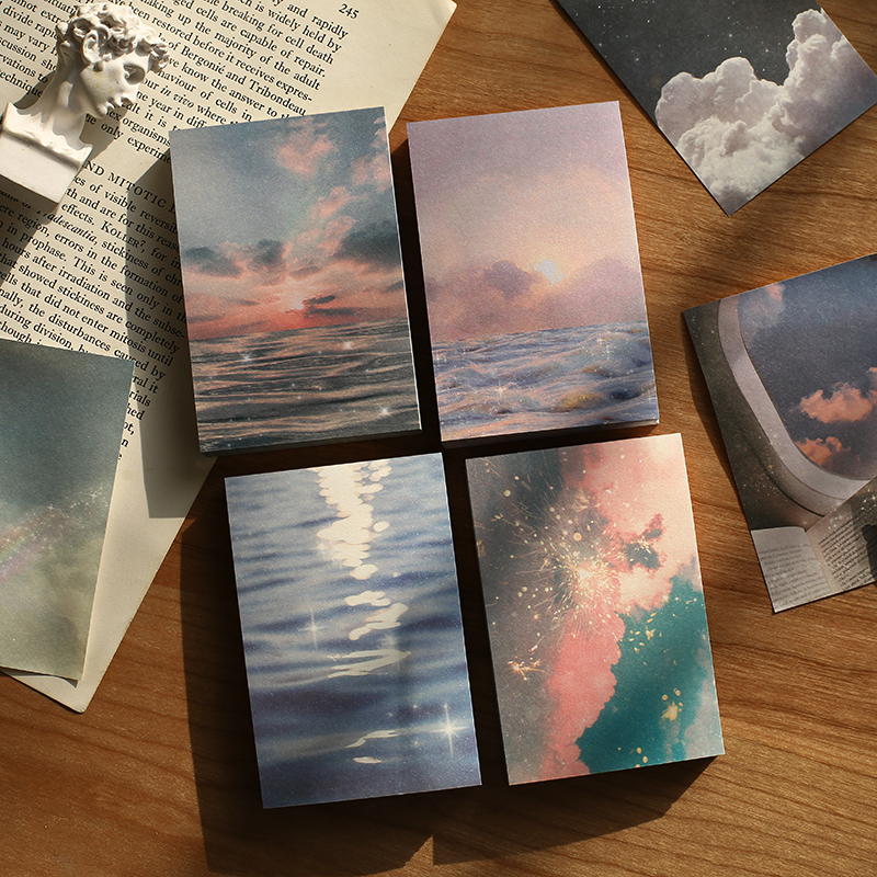 Купить с кэшбэком Journamm 100pcs/lot Ins Style Rainbow Star Sunset Waves Loose Leaf Memo Pads Minimalist Write Down Points Artsy Style Memo Pads