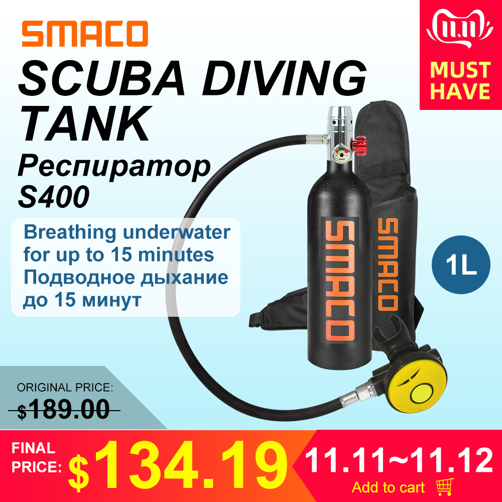 SMACO 1L Diving Equipment Mini Scuba snorkel Cylinder S400 buceo Scuba Diving Oxygen Air Tank underwater breath 15 minutes