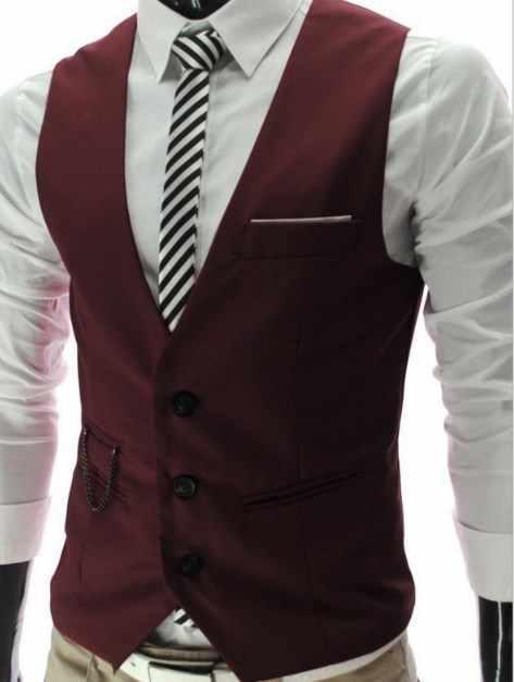 Traje Casual de negocios Chaleco para Hombre Weeding vestido de graduación abrigo de cintura para hombres chaqueta sin mangas Chaleco Hombre delgado Fit Gilet uomo