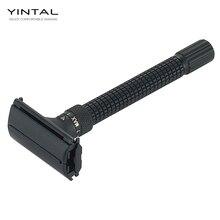 YINTAL ใหม่ปรับผีเสื้อเปิดคู่ขอบมีดโกน Matte สีดำทองเหลืองมีดโกนออกแบบโดย WEISHI