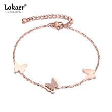 Lokaer-Bracelet de chaîne en acier inoxydable, élément papillon, bijoux couleur or Rose, pour femmes et filles B18182