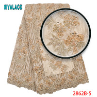 3d African Lace Fabric 2019 High Quality African French Lace Embroidery Havy Beads Lace Fabric For Bridal Dress 2862b