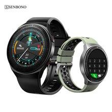 Senbono relógio inteligente masculino esportes leitor de música rastreador de fitness relógio para ios android huawei telefone feminino bluetooth chamada smartwatch