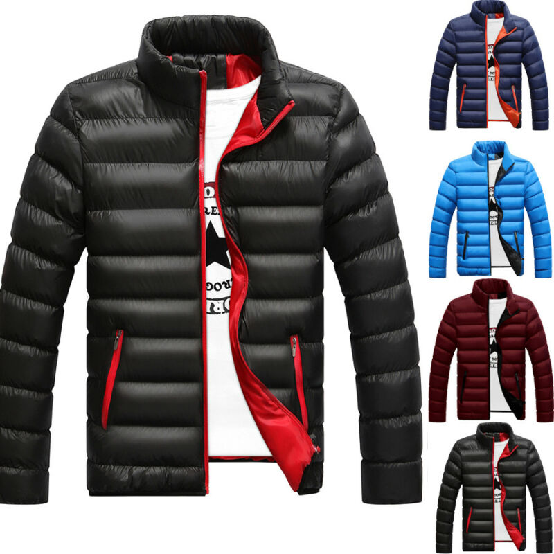 Hot Men Slim Fit Cotton Padded Thick Winter Warm Stand Collar Light Outerwear Jacket Casual Overcoat Quilted  Clothing Coats