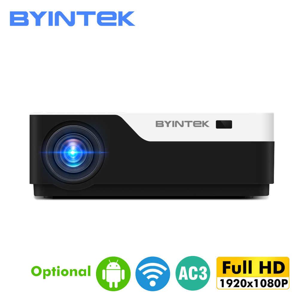 BYINTEK completo HD Proyector K11 M19 contra salpicaduras y bandeja para viruta, lámina de acero 1920mm para 1080P Smart Android Proyector wi-fi vídeo Proyector para 3D 4K de 300 pulgadas de cine en casa