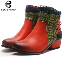 BONJOMARISA New 34-43 Retro Patchwork Booties Ladies Brand Ethnic Ankle Boots Women 2019 Med Chunky Heels Shoes Woman