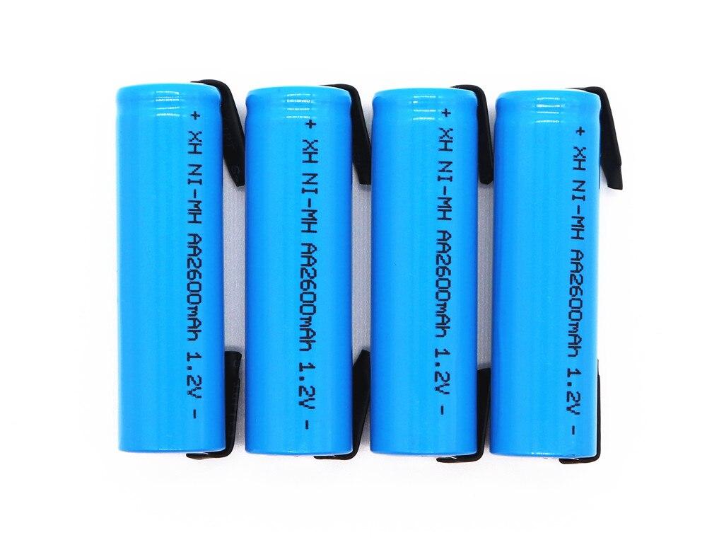 1,2 в оригинальный AA перезаряжаемый аккумулятор 1,2 в 2600 мАч AA NiMH аккумулятор с припоем DIY электрическая бритва зубная щетка для