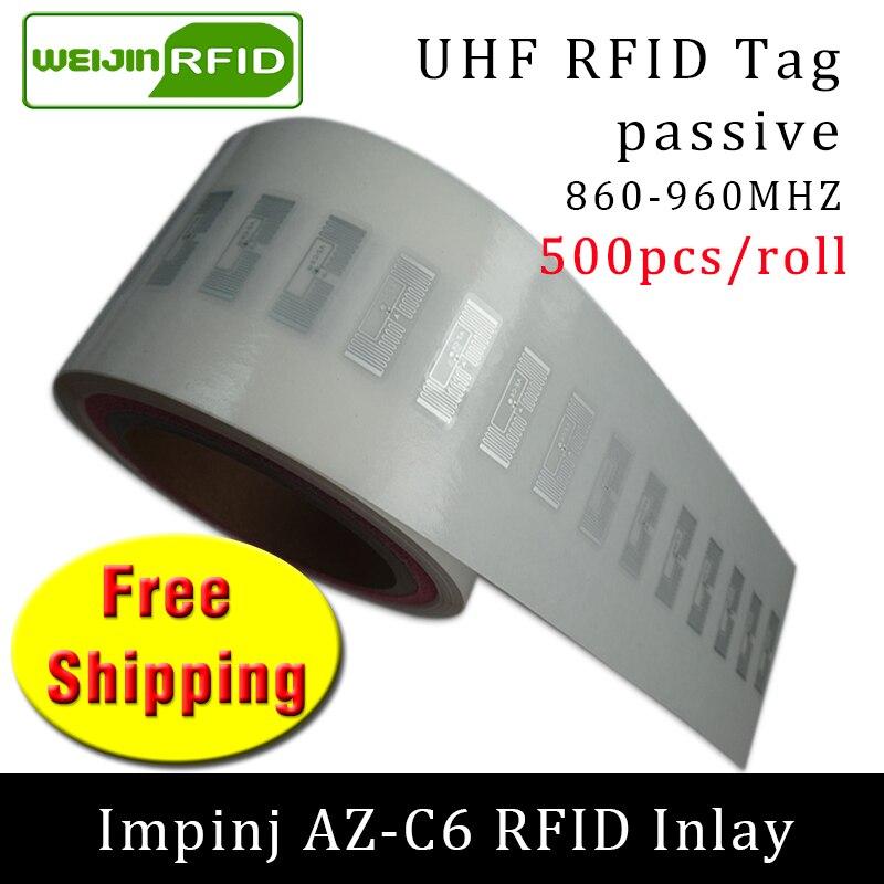 RFID Tag UHF Sticker Impinj MonzaR6 AZ-C6 EPC 6C Wet Inlay 915m868m860-960MHZ 500pcs Free Shipping Adhesive Passive RFID Label
