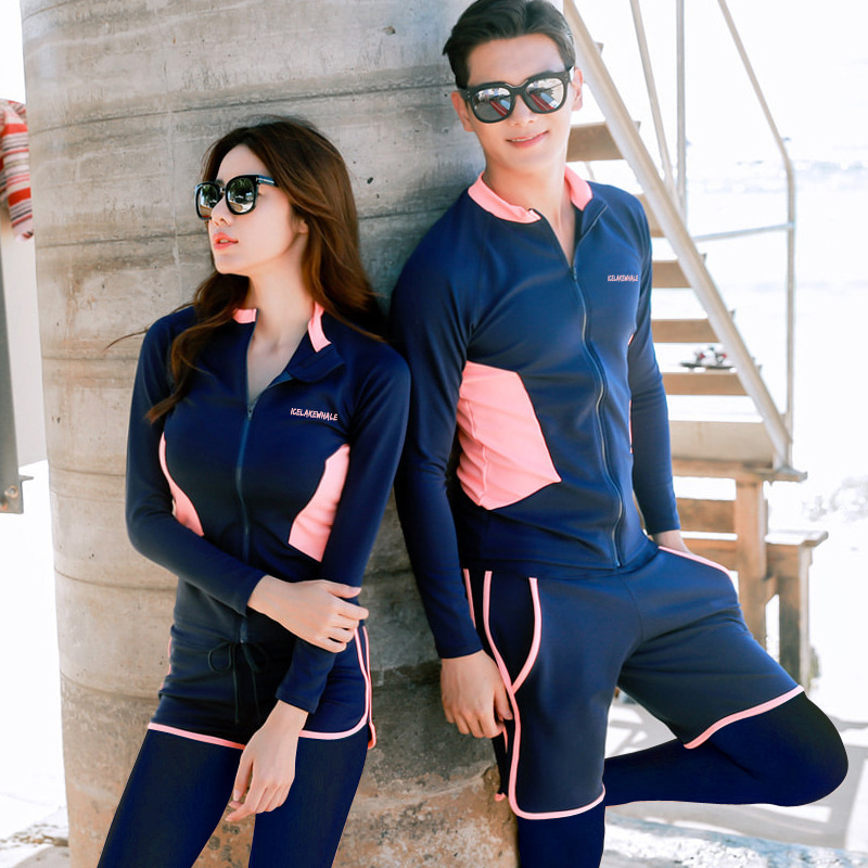 South Korea Couples Diving Suit Women's Sun-resistant Jellyfish Snorkeling Swimming Suit Long Sleeve Trousers Slimming Split Typ