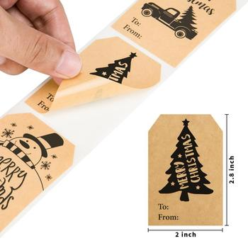 150 pcs 1 roll of 6 Christmas style kraft paper stickers Used as a Christmas gift to decorate office or stationery decoration 1