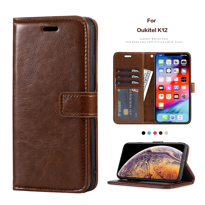 PU Leather Flip Case For <font><b>Oukitel</b></font> <font><b>K12</b></font> Stand Card Holder Silicone Photo Frame Case Wallet Cover For <font><b>Oukitel</b></font> <font><b>K12</b></font> Business Case image