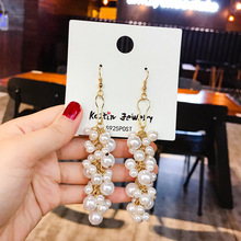Trendy Elegant Created Big Simulated Pearl Long Earrings Pearls String Statement Drop For Wedding Party Gift