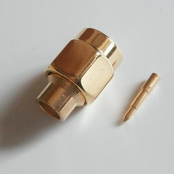 1X Pcs Connector SMA Male jack Solder for semi-rigid RG402 0.141 cable Nonporous Brass GOLD Plated Straight RF Adapters image