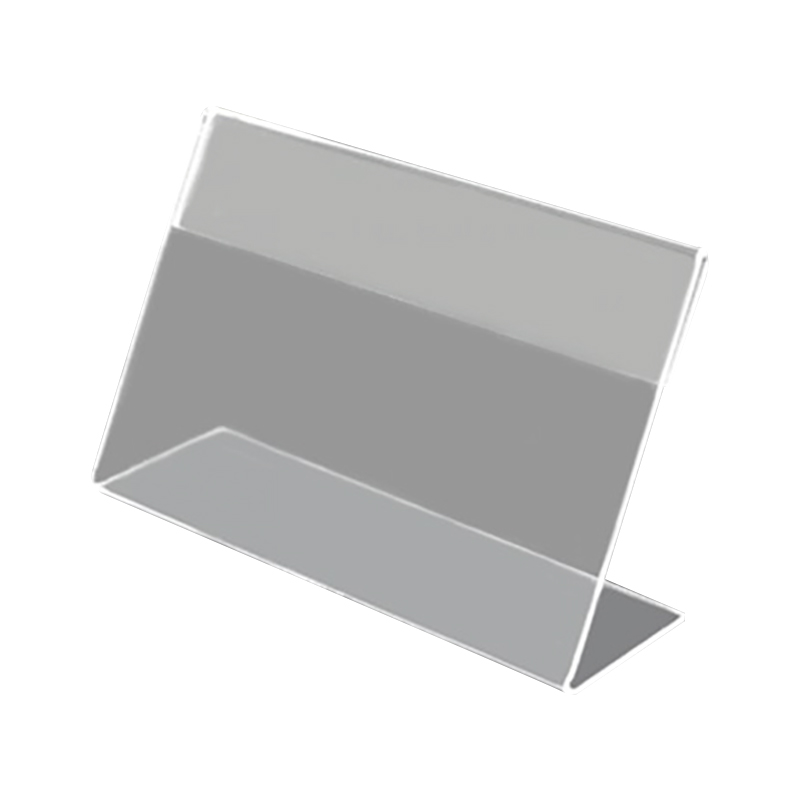 Clear Plastic Table Sign Price Tag Label Display Paper Promotion Card Holders Small L Shape Stands 100Pcs