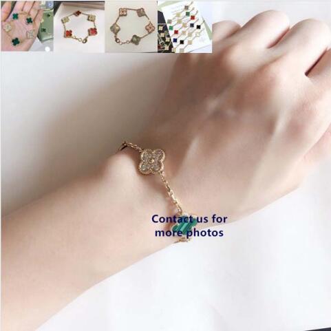 Chaude marque originale 5 trèfle Bracelet mélange diamant breloque en argent Sterling 925 ensemble naturel vraie pierre élégante femmes bijoux cadeaux