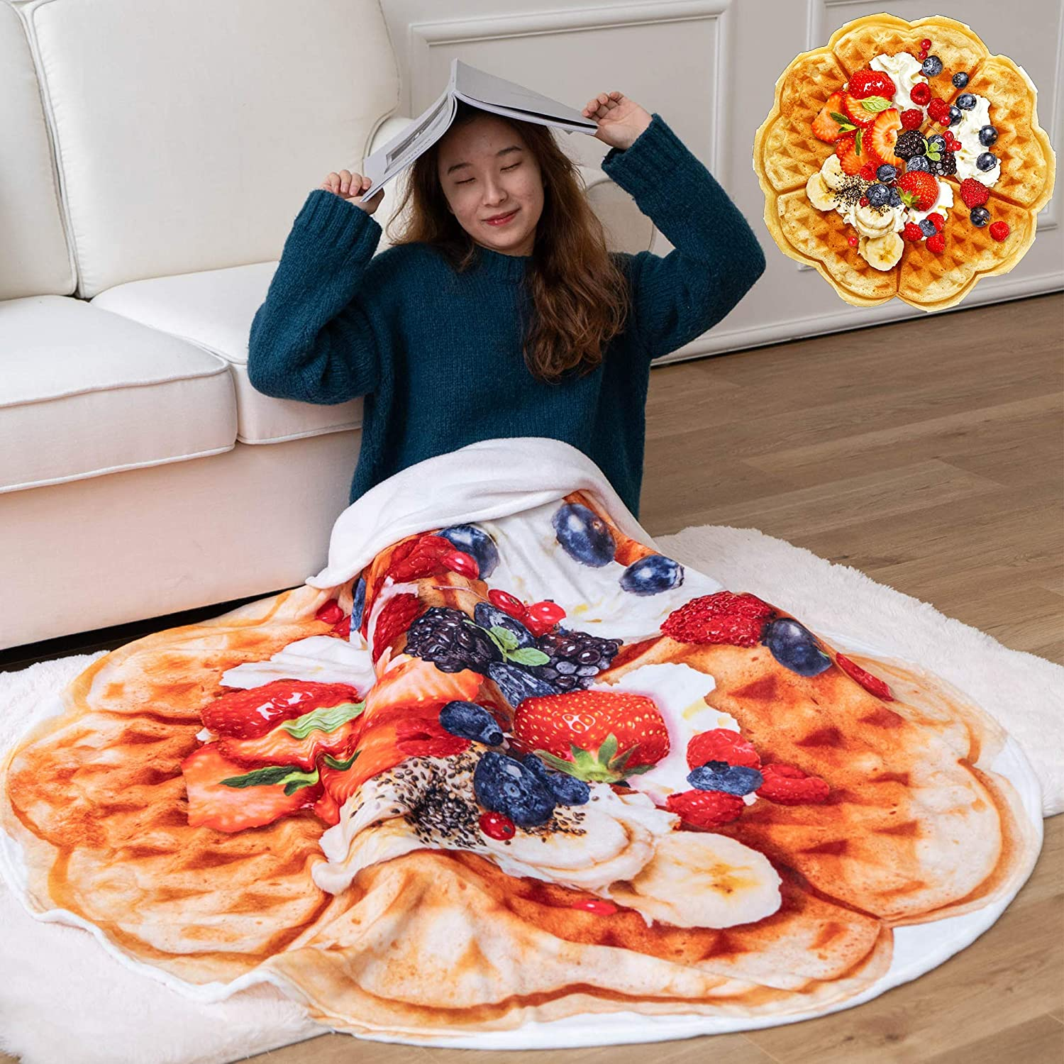OLIVE HOME Fruit Waffle Food Throw Blanket 3D Print Soft Flannel Winter Warm Round Blankets Decorative Blankets For Bed Sofa