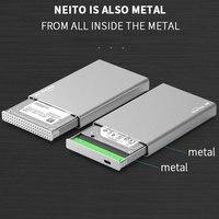 HDD 인클로저 USB 3.1 유형 C SSD 케이스 인클로저 휴대용 하드 드라이브 캐디 6Gbps 2.5 ''sata 7-9.5-15mm 전체 알루미늄 케이스