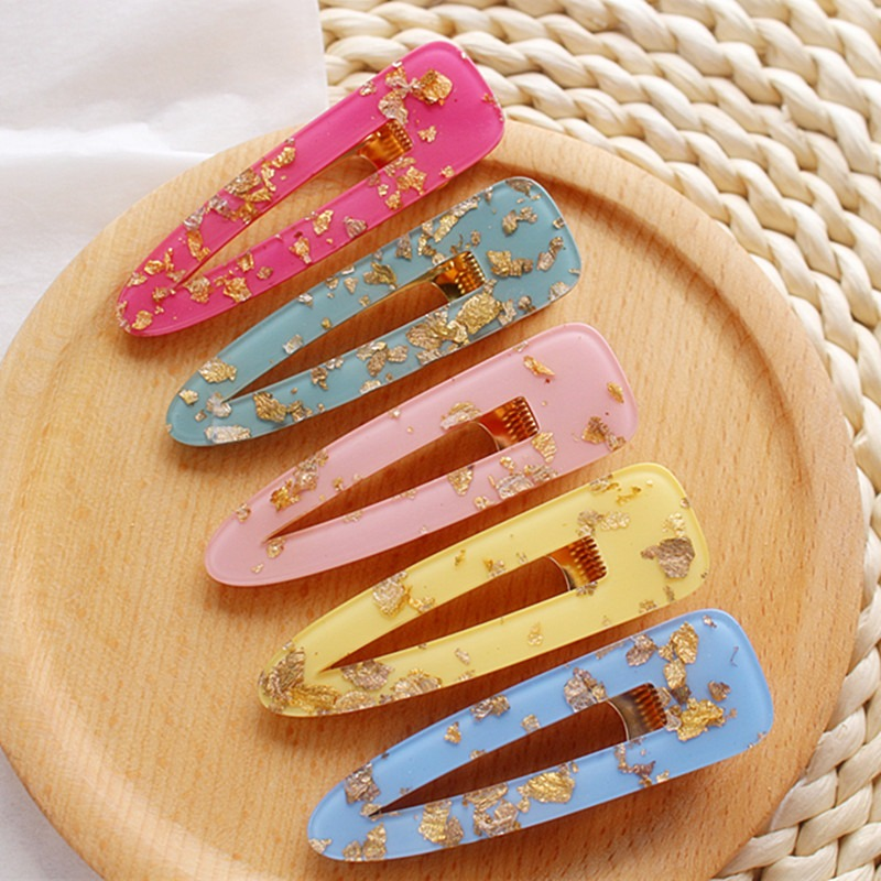 2019 Women Girls Acrylic Hollow Waterdrop Hair Clips Tin Foil Sequins Hairpins Barrettes Hair Accessories New Arrival