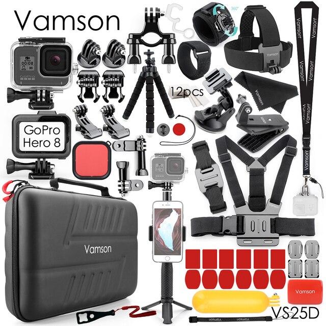 Vamson for Go Pro Hero 8 Black Camera Waterproof Housing Case for GoPro Accessories Kit Monopod Mount for GoPro 8 Black VS25