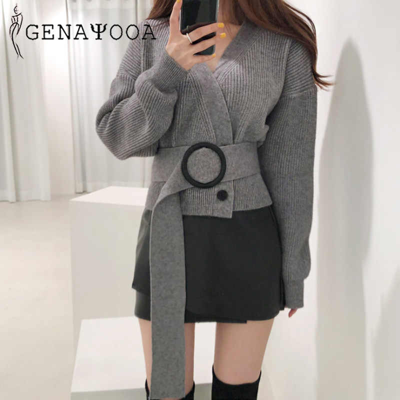 Genayooa Vingate Women Cardigan Long Sleeve Cashmere Female Sweater Streewear Knittwear Cardigan Coat With Belt 2019