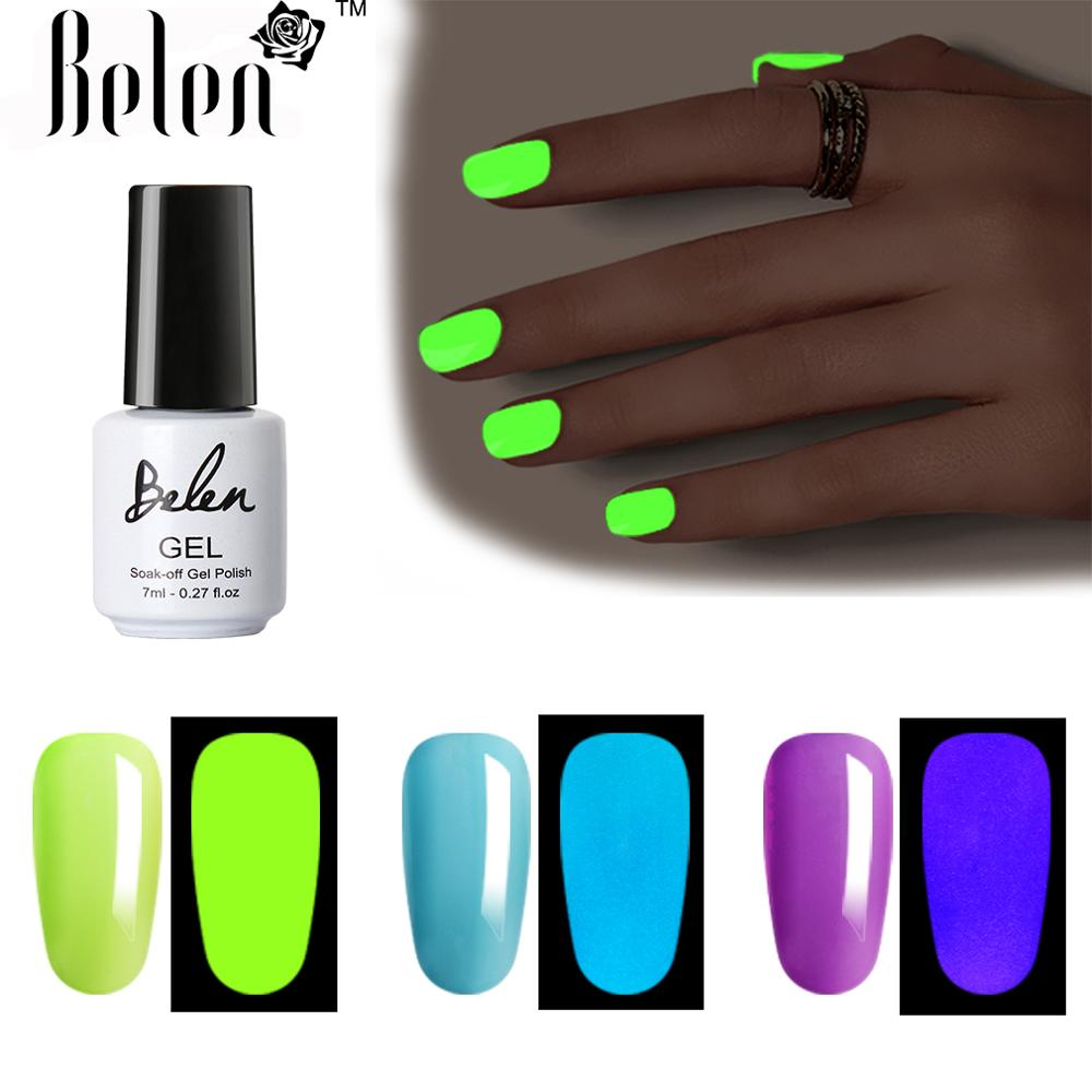 Belen 7ml  Glow In Dark Fluorescent Neon Luminous Uv LED Soak Off Gel Varnish Lighting In Night Semi Permanent Varnish Enamel