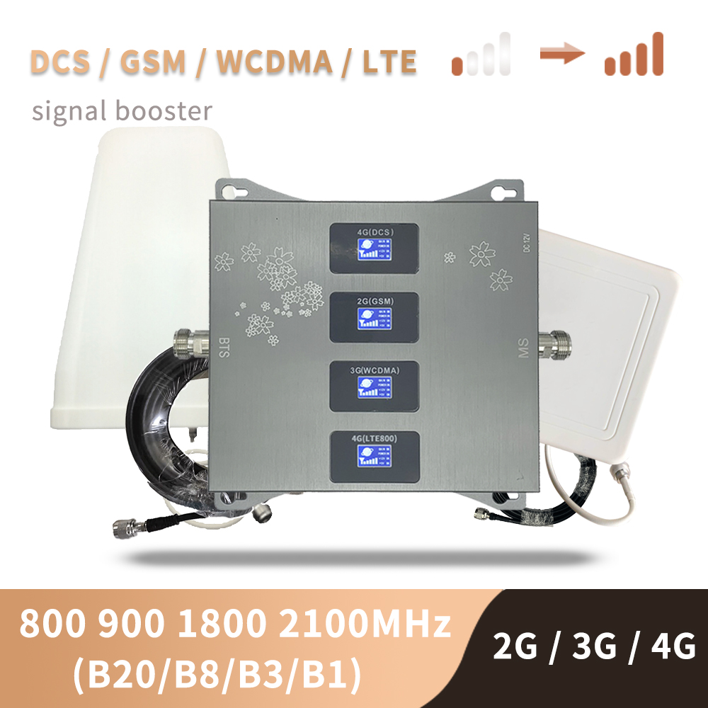 B20 800 900 1800 2100 Mhz Cell Phone Booster Tri Band Mobile Signal Amplifier 2G 3G 4G LTE Cellular Repeater GSM DCS WCDMA Set