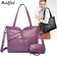 large capacity soft leather shoulder bag women big purses and handbags ladies black purple dark blue casual tote hand bag female